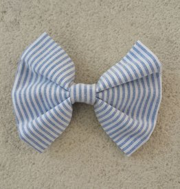 Hot Dog Bowtie - Blue & White Stripe Searsucker - Large