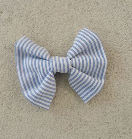 Hot Dog Bowtie - Blue & White Stripe Searsucker - Medium