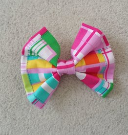 Hot Dog Bowtie - Pink Plaid - Medium