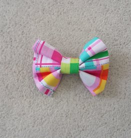 Hot Dog Bowtie - Pink Plaid - Small