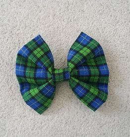 Hot Dog Bowtie - Blue & Green Tartan - Medium