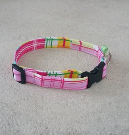 Hot Dog Collar - Pink Plaid - Medium