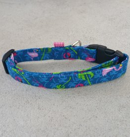 Hot Dog Collar - Royal Blue Flamingo - Large