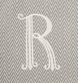 Herringbone Initial Throw Blanket - R