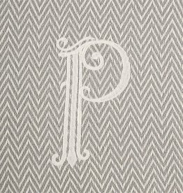 Herringbone Initial Throw Blanket - P