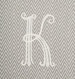 Herringbone Initial Throw Blanket - K