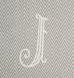 Herringbone Initial Throw Blanket - J