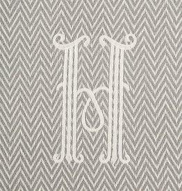 Herringbone Initial Throw Blanket - H