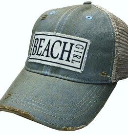 Beach Girl Sky Blue Distressed Trucker Cap